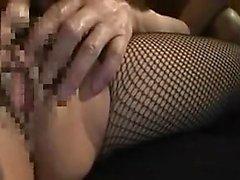 Slutty Asian lady in a fishnet bodysuit gets pleased by two