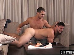 Muscle son spanking and cumshot