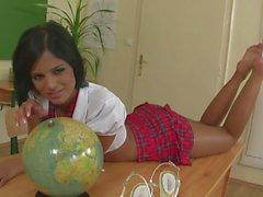 Siyah Angelika, okul gözetiminden sonra mastürbasyon yapıyor
