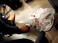 Cute GF's bare feet, in fitting room