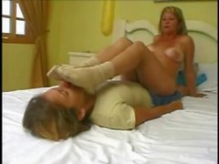 Lesbian foot fetish - blonde slave for very sweated feet
