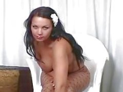 Big booty brunette plagen in Fencenet panty
