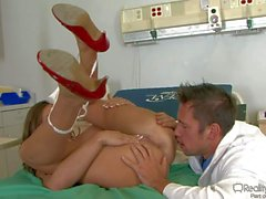 Big racked nurse Madelyn Marie stripping for a doctor