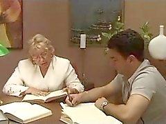 Mature Italian teacher with student