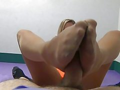 Pantyhose Waitress Footjob POV