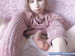 Innocent Looking Blonde Tgirl Plays Her Cock