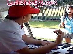 icecream truck teen schoolgirl in knee high socks gets half creampie fillin