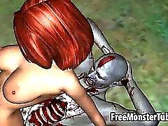De chicas pelirrojo yummy de 3D obtiene jodido duro de una zombies