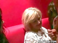 Dirty Drunken Girls Sucking Cocks Together At CFNM Party
