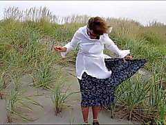 Rita on a windy day at the beach