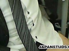 Japanese businessman Hiroki Nishi stroking his cock while