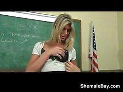 Shemale Teacher Masturbating