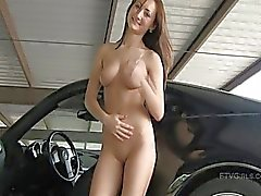 Sandra lovely brunette driving a car naked in a public place