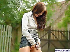Piss lover joins a horny couple outdoors