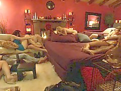 Couple swingers try to fuck sybian before horny groupsex