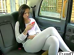 Perky tits chick drilled in the backseat for a free cab fare