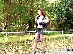 Julie skyhigh: hooker handcuffed in the woods & deepthroated facial cumshot