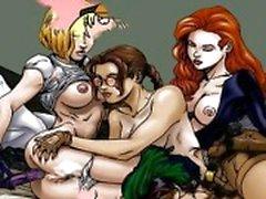 Beroemde cartoons orgie