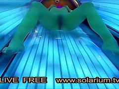 Solaryum Cam sıcak Azgın Kız Mastürbasyon solaryum