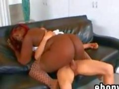 Thick Black Woman In Fishnets Fucking
