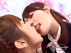 Office Lady Kissing With A Schoolgirl and Getting Her Tits Rubbed