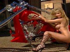 Sexy Blonde Sandee rides her bike like a Vixen
