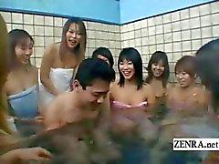 Ondertiteld Japanse leraar schoolmeisjes badhuis harem