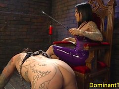 Busty ts rides her slave before anal rimming