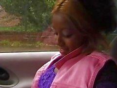 Cute German black girl in passenger seat