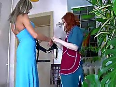 Girl with a strap-on penetrates a dirty crossdresser