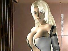 Blondie 3D hentai bebê mostram seios
