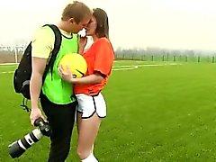 Jugador de fútbol americano holandés plumbed por el fotógrafo