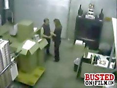 Horny coworkers get busted on security cam doing a blowjob in the warehouse office