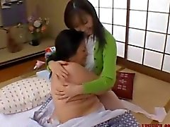 Mature Asian Woman Licking a petite milf