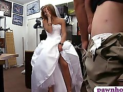 Babe pawns her wedding dress and railed by pawn keeper