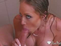 PUREMATURE Busty Shawna Lenee sucks and fucks in the shower