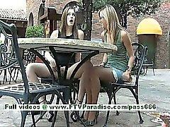 Di Leslie e Danielle superbi donne lesbiche bacia ed i tits lampeggianti pubblici