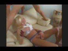 Kayla Coxx gets DP'ed by hot girl with a strap on in a smokin hot 3way