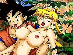 Dragonball and young Sailormoon hentai