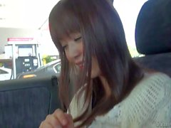 Filthy dude Manuel Ferrara films asian babe in his car