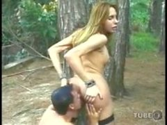 Tranny and guy have a fun in the forest