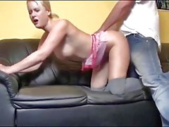 German Blonde Takes Hot Creampie on the Couch