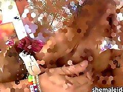 Ebony Tgirl Honey in threesome action