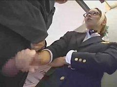 Handjob in airplane