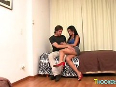Mini-skirt clad shemale whore getting hired by a scruffy guy