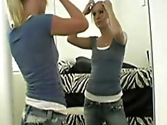 Blonde Hottie Masturbates In Front Of Mirror