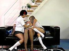 Brit schoolgirls rimming