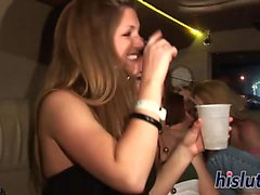 Foxy babes fool around in a limo