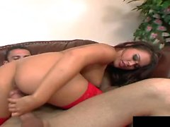 Eva Angelinas pulling her lingerie unleashing her...