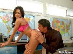Frech Sekretär Breannes verwendet ihr Chef